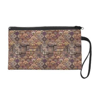 Vintage patchwork with floral mandala elements wristlet clutches