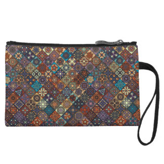 Vintage patchwork with floral mandala elements wristlet purses