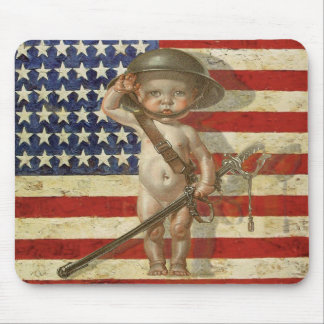 Vintage Patriot Mousepad with Baby Hero on Flag