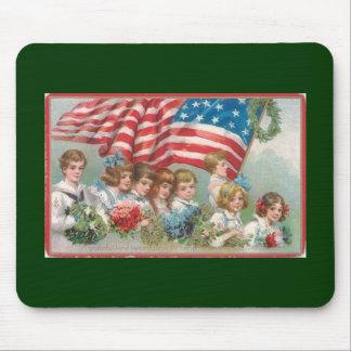 Vintage Patriotic American Children Mouse Pad
