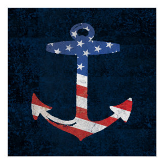 Vintage Patriotic American Flag Anchor Nautical US Perfect Poster