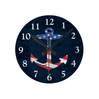 Vintage Patriotic American Flag Anchor Nautical US Round Clock