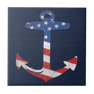 Vintage Patriotic American Flag Anchor Nautical US Tiles