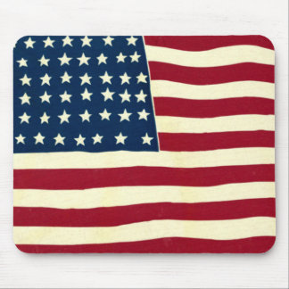 Vintage Patriotic American Flag, Fourth of July Mouse Pad