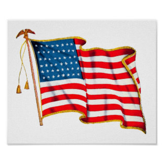 Vintage Patriotic American Flag, Fourth of July Poster