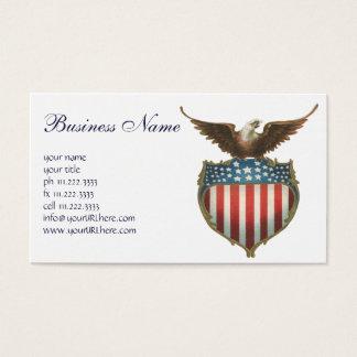 Vintage Patriotic, Bald Eagle with American Flag Business Card