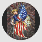 Vintage Patriotic Child and Fireworks Classic Round Sticker