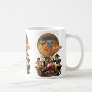 Vintage Patriotic, Children in a Hot Air Balloon Coffee Mug