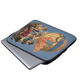 Vintage Patriotic, Children in a Hot Air Balloon Laptop Computer Sleeve