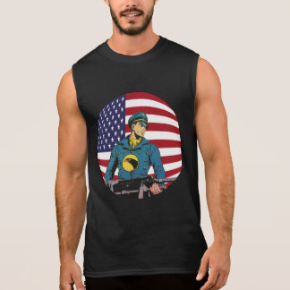 Vintage Patriotic Golden Age Comic Books Hero Sleeveless Shirt