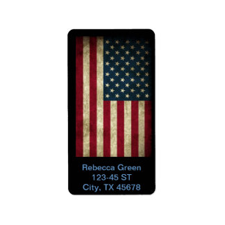 Vintage Patriotic Grunge USA American Flag Label