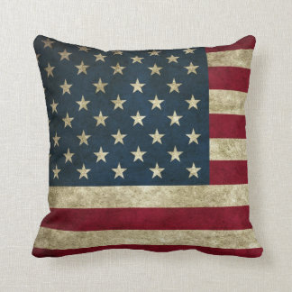 Vintage Patriotic Grunge USA American Flag Throw Pillow