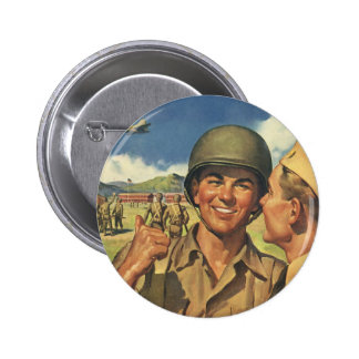 Vintage Patriotic Heroes, Military Personnel Plane Pinback Buttons