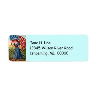 Vintage Patriotic Lady Flag Return address labels