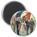 Vintage Patriotic, Military Personnel Magnets