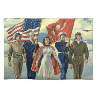 Vintage Patriotic, Proud Military Personnel Heros Placemat