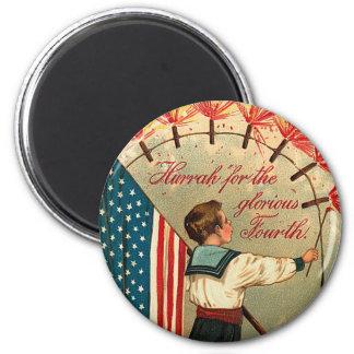 Vintage Patriotic Sailor Round Magnet