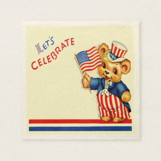 Vintage Patriotic Teddy Bear Napkin Disposable Napkin