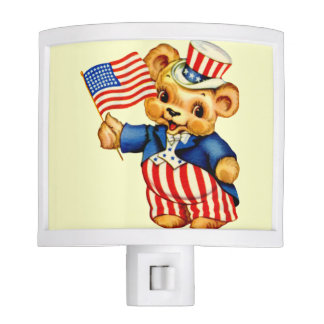 Vintage Patriotic Teddy Bear Nightlight Nite Lite