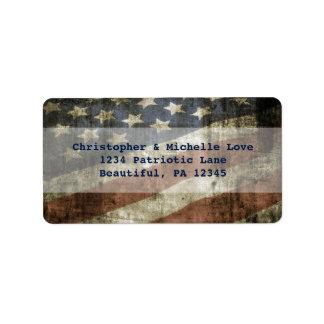 Vintage Patriotic United States Flag Address Label