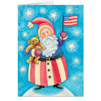 Vintage Patriotic USA Santa Card