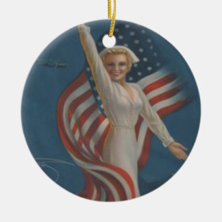 Vintage Patriotic WW2 Army Nurse with Flag Ceramic Ornament