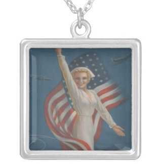 Vintage Patriotic WW2 Army Nurse with Flag Silver Plated Necklace