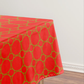 Vintage Pattern Christmas Green Circles on Red Tablecloth