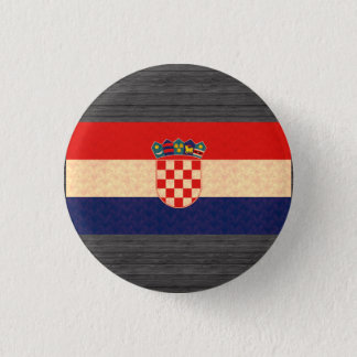 Vintage Pattern Croatian Flag 1 Inch Round Button