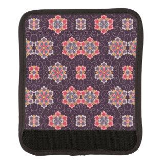 Vintage Pattern Dark Purple Flowers Blue Pink Luggage Handle Wrap