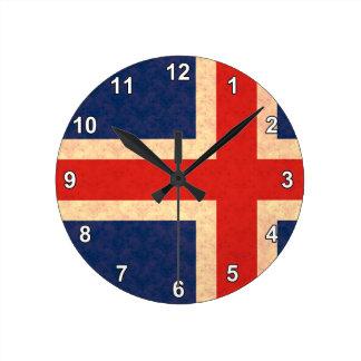Vintage Pattern Icelander Flag Round Clock