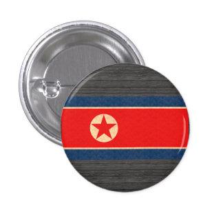 Vintage Pattern North Korean Flag 1 Inch Round Button