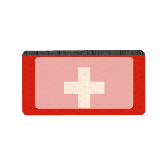 Vintage Pattern Swiss Flag Label