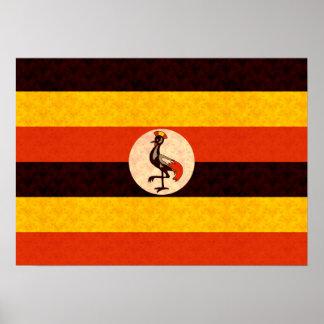 Vintage Pattern Ugandan Flag Poster