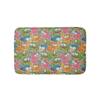 Vintage pattern with cartoon animals bath mat