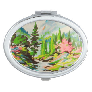 Vintage PBN Pastel Pink Scenic Compact Mirror