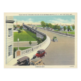 Vintage Peace Bridge Crossing New York, Ontario Postcard