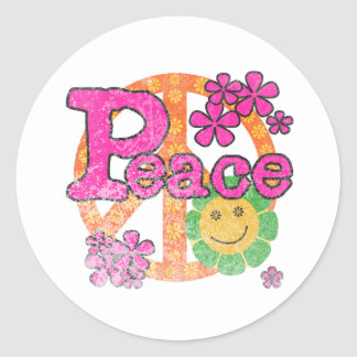 Vintage Peace Classic Round Sticker