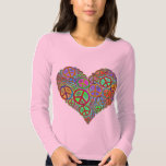 Vintage Peace Love Heart T Shirt