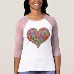 Vintage Peace Love Heart T-Shirt