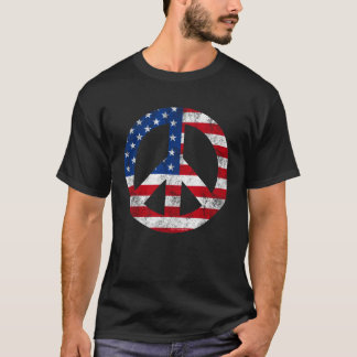 Vintage Peace Sign Symbol American Flag 4th July T-Shirt