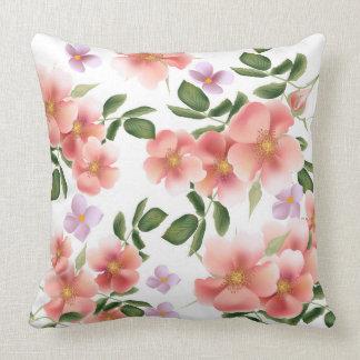 Vintage peach floral pattern home decor pillow