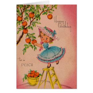 Vintage Peach Girl Birthday Card