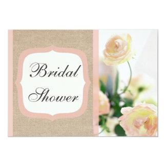 Vintage Peach Peony Burlap Bridal Shower Card