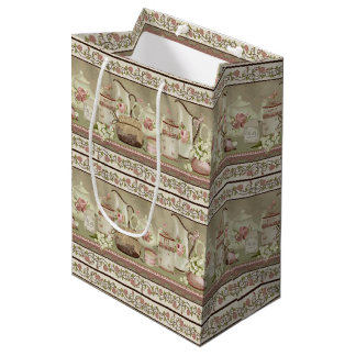 Vintage Peach Tea & Roses Gift Bag