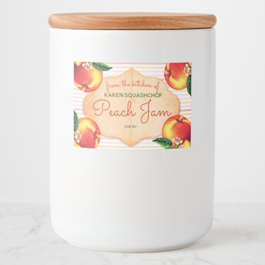 Vintage peaches jam fruit sauce canning label