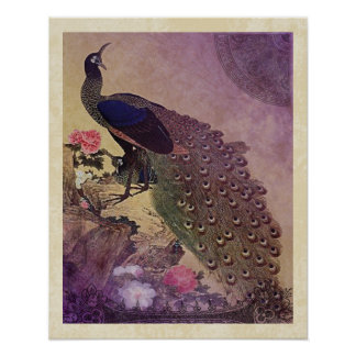Vintage Peacock and Peonies Japanese Print