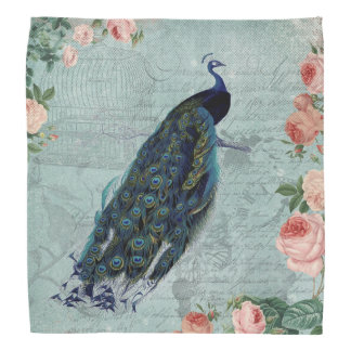 Vintage Peacock and Roses Illustration Bandana