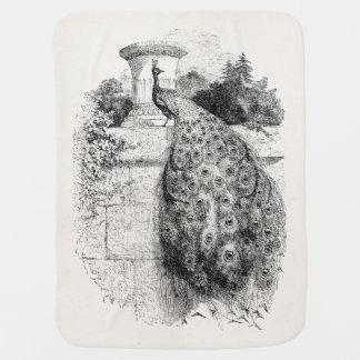 Vintage Peacock Bird Personalized Peafowl Birds Receiving Blankets