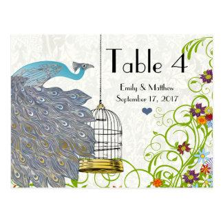 Vintage Peacock & Birdcage Wedding Number Card